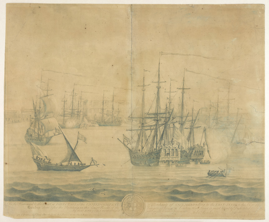 'View of Bombay', after the painting by Lambert & Scott.  Mezzotint by Elisha Kirkall, c.1735.  Printed for T. & J. Bowles.  Presented by Sir George Birdwood.
